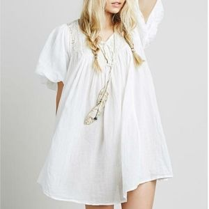 FREE PEOPLE White Embroidered Babydoll Mini Dress